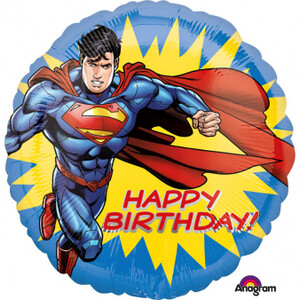 Balon foliowy 45cm Superman Happy Birthday